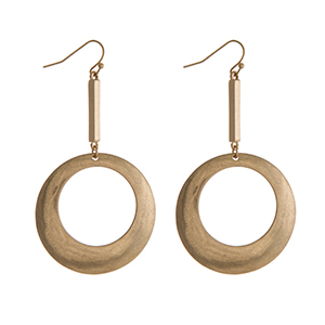 """Gold tone fishhook earrings with a bar and open circle shape. Approximately 2.5"""" in length."""