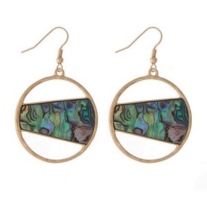 """2.5"""" Round gold tone fishhook earrings featuring a abalone stone."""