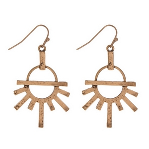 """Burnished gold tone fishhook earrings. Approximately 1.25"""" in length."""