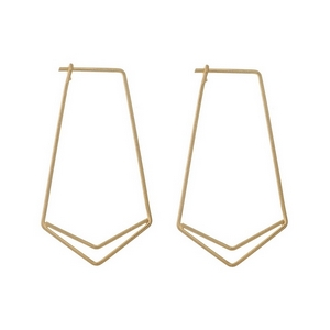 """Dainty gold tone geometric post style earrings. Approximately 1.25"""" in length."""