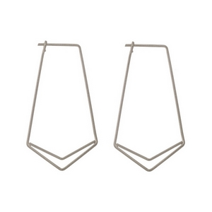 "Dainty silver tone geometric post style earrings. Approximately 1.25"" in length."
