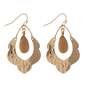 "Hammered gold tone scalloped earrings with a picture jasper stone. Approximately 1.5"" in length."