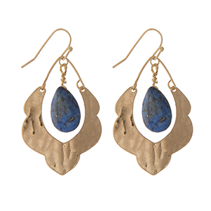 """Hammered gold tone scalloped earrings with a lapis stone. Approximately 1.5"""" in length."""