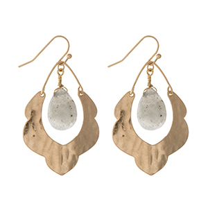 """Hammered gold tone scalloped earrings with a labradorite stone. Approximately 1.5"""" in length."""