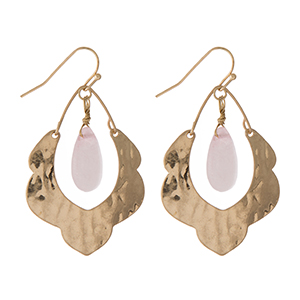 """Hammered gold tone scalloped earrings with a blush pink stone. Approximately 1.5"""" in length."""