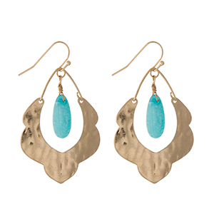 "Hammered gold tone scalloped earrings with a turquoise stone. Approximately 1.5"" in length."