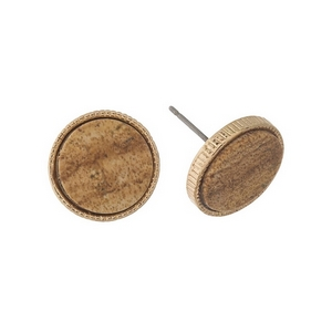 """Gold tone stud earrings with a picture jasper stone. Approximately 1/2"""" in diameter."""