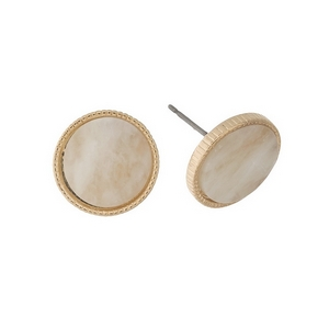 """Gold tone stud earrings with a beige stone. Approximately 1/2"""" in diameter."""