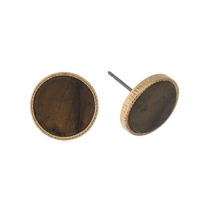 """Gold tone stud earrings with a labradorite stone. Approximately 1/2"""" in diameter."""