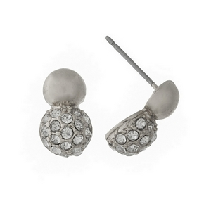 "Silver tone stud earrings with clear rhinestones. Approximately 1/3"" in length."