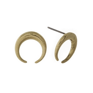 "Burnished gold tone crescent shaped stud earrings. Approximately 1/2"" in diameter."