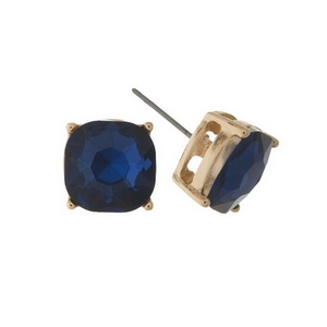 """Gold tone stud earrings with a navy blue rhinestone. Approximately 1/2"""" in width."""