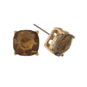 """Gold tone stud earrings with a topaz rhinestone. Approximately 1/2"""" in width."""