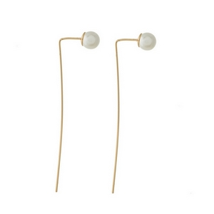 "Gold tone threader earrings with a 10mm pearl bead and a 3"" post."