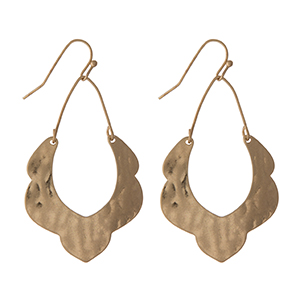"Hammered gold tone earrings with a scalloped pattern. Approximately 1.5"" in length."