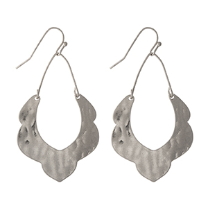 "Hammered silver tone earrings with a scalloped pattern. Approximately 1.5"" in length."