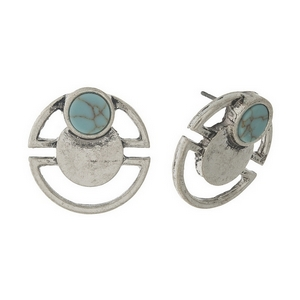 """Matte silver tone stud earrings with a turquoise stone accent. Approximately 3/4"""" in diameter."""