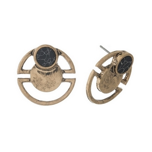 """Matte gold tone stud earrings with a black stone accent. Approximately 3/4"""" in diameter."""