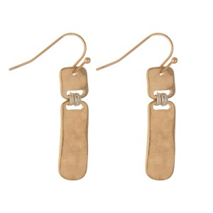 "Hammered gold tone bar earrings with silver tone wire wrapped accents. Approximately 1"" in length."
