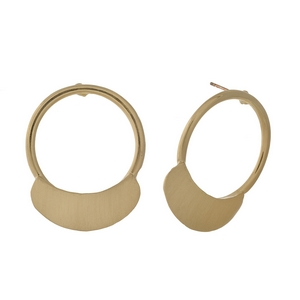"""Brushed gold tone post style earrings with an open circle shape. Approximately 1.25"""" in length."""