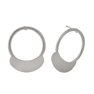 """Brushed silver tone post style earrings with an open circle shape. Approximately 1.25"""" in length."""