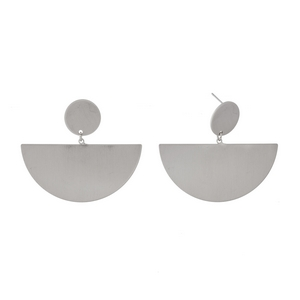 """Brushed silver post style earrings with geometric shapes. Approximately 1.5"""" in length."""