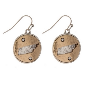 """1"""" Two tone fishhook earrings featuring a round 20mm pendant with a cutout of the state of Tennessee."""
