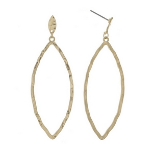 "Gold tone post style earrings with a hammered oval shape. Approximately 2.5"" in length."