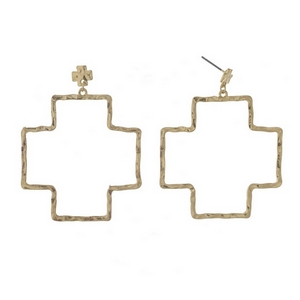"Gold tone post style earrings with a hammered cross shape. Approximately 2.5"" in length."
