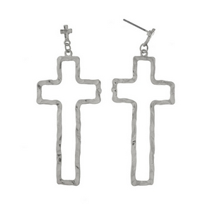 "Silver tone post style earrings with a hammered cross shape. Approximately 2.5"" in length."