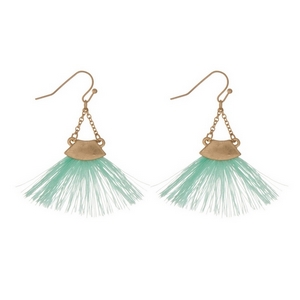 "Gold tone fishhook earrings with a mint green fan tassel. Approximately 2"" in length."