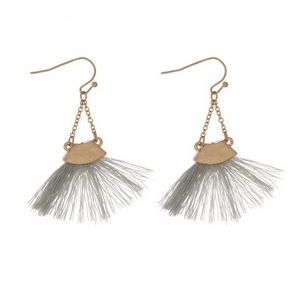 "Gold tone fishhook earrings with a gray fan tassel. Approximately 2"" in length."