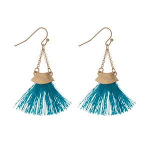 "Gold tone fishhook earrings with a teal fan tassel. Approximately 2"" in length."