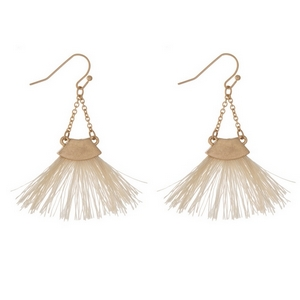 "Gold tone fishhook earrings with an ivory fan tassel. Approximately 2"" in length."