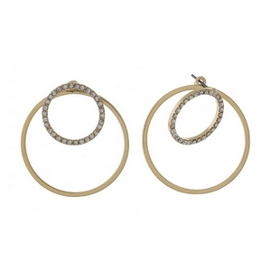 "Gold tone double sided earrings with clear rhinestone circles. Approximately 1/2"" and 1.25"" in diameter."