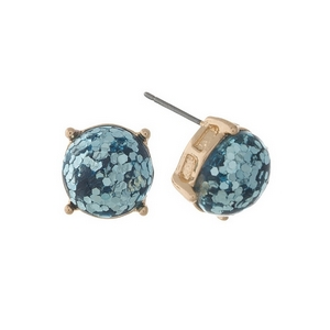 "Gold tone stud earrings with turquoise glitter. Approximately 1/3"" in diameter."
