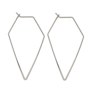 "Matte silver tone hoop earrings with a hexagonal shape. Approximately 2"" in length."