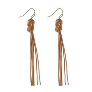 "Rose gold tone tassel fishhook earrings. Approximately 3"" in length."