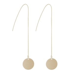 "Dainty gold tone threader earrings displaying a circle 3/4"" in width. Total measurement is 4"" in length."