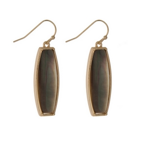 "Gold tone fishhook earrings displaying an abalone rectangle shape. Approximately 1"" in length."