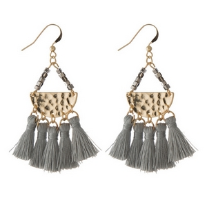 "Gold tone fishhook earrings featuring a hammered half circle with five, gray fabric tassels. Approximately 2.5"" in length."