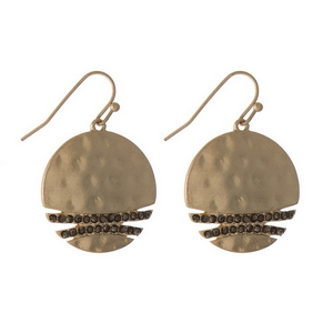 "Gold tone fishhook earrings featuring a hammered circle with gray rhinestone accents. Approximately 1"" in diameter."