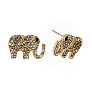 "Gold tone elephant stud earrings with clear rhinestones. Approximately 3/4"" in size."