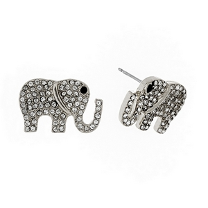 "Silver tone elephant stud earrings with clear rhinestones. Approximately 3/4"" in size."