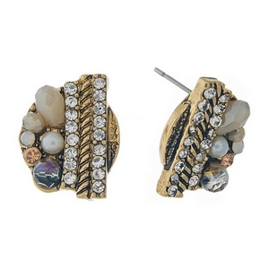 """Gray, ivory, and clear rhinestone beaded stud earrings. Approximately 1/2"""" in length."""