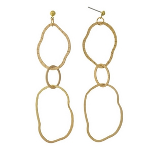 """Gold tone post style earrings featuring three hammered, interlocking rings. Approximately 3"""" in length."""