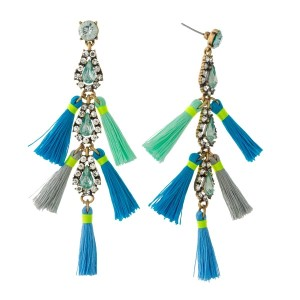 """Gold tone statement earrings with clear and mint green rhinestones and blue, gray and mint green tassels. Approximately 4"""" in length."""