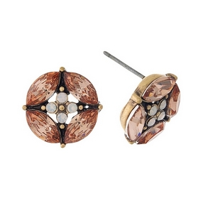 "Gold tone circle stud earrings with peach and opal rhinestones. Approximately 1/2"" in diameter."