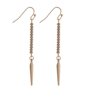 "Dainty gold tone fishhook earrings featuring gray faceted beads and a spike pendant. Approximately 2"" in length."