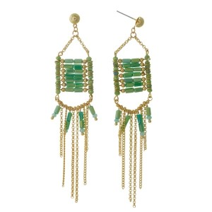 "Gold tone post earrings with green beads and chain fringe. Approximately 4"" in length."